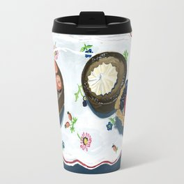 Pastries on a Plate in Gouache Travel Mug