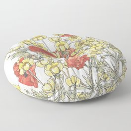 Buttercup and poppy watercolour Floor Pillow