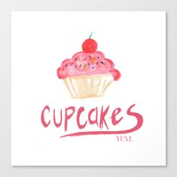 cupcakes Canvas Prints featuring CUPCAKES by Lauren Lee Design's