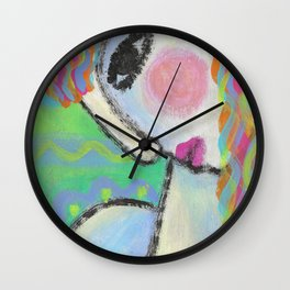 Colorful Abstract Portrait of a Woman Wall Clock