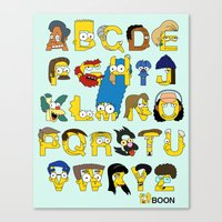 simpsons Canvas Prints featuring Simpsons Alphabet by Mike Boon
