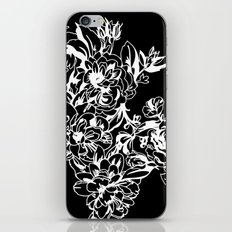 Cabbage Roses - Black iPhone & iPod Skin