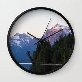 Glacier Mountains at Sunset Wall Clock
