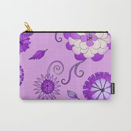 Purple Crazy Daisy pattern Carry-All Pouch