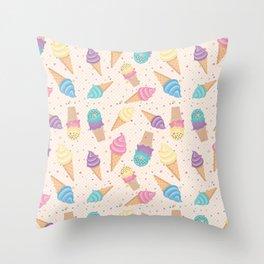 ice cream party Throw Pillow
