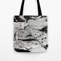 polar bear Tote Bags featuring Polar Bear by Meredith Mackworth-Praed