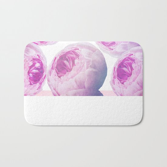 Pink Roses Collage Bath Mat