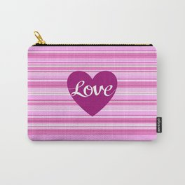 Love Script Heart on Stripes Pinks White Plum Carry-All Pouch