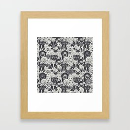 Pattern With Cute Dogs Framed Art Print