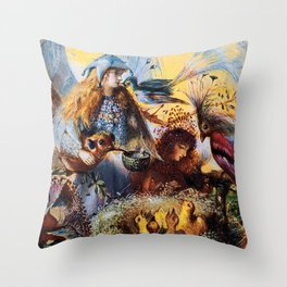 Fairies with birds by John Fitzgerald Anster Throw Pillow