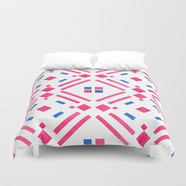 Modern hand painted geometrical pink blue watercolor Duvet Cover