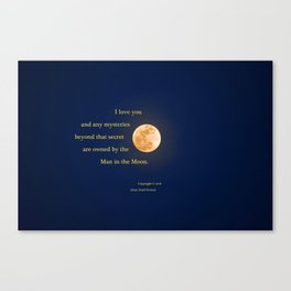 """""""January Blue Moon"""" with poem: Any Mysteries Canvas Print"""
