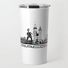 Cracow skyline black Travel Mug