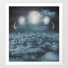 Uncertain. Alone. Cratered By Imperfections. (Loyal Moon) Art Print