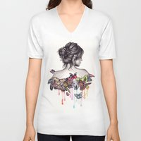 woman V-neck T-shirts featuring Butterfly Effect by KatePowellArt