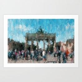 Brandenburger Tor, Brandenburg Gate - Berlin City  /  impressionism style painting Art Print