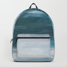 Teal Ocean Blue Gray Abstract Nature Art Painting Backpack