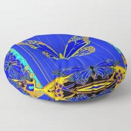 Lapis Blue & Gold Monarch Western Art design Floor Pillow