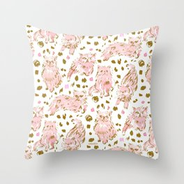 FRED the Kitty Pink Gold Chic Persian Cat Throw Pillow