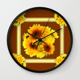 CHOCOLATE BROWN YELLOW SUNFLOWER BOUQUETS Wall Clock