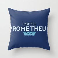 prometheus Throw Pillows featuring USCSS Prometheus - Crew Member Shirt by Artpunk101