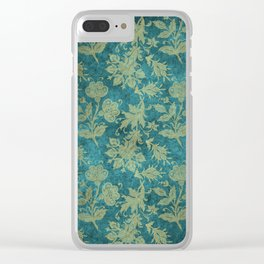 Blue Velvet Gold Floral Pattern 04 Clear iPhone Case