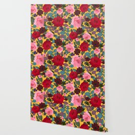 Vintage Red Pink Roses and Chocalate Cosmos Flower Pattern Wallpaper