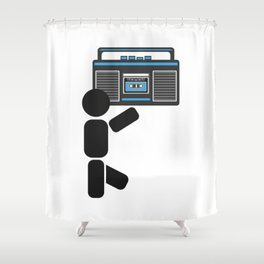 Dude with a boombox abstract drawing Shower Curtain