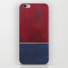 Deep Blue, Red And Gold Abstract Painting iPhone Skin