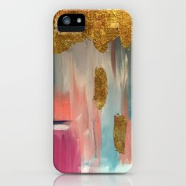 Gold Leaf & Indigo Blue Abstract iPhone Case