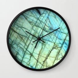 Teal Labradorite Gemstone print Wall Clock