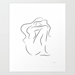 Sitting nude sketch. Line drawing print. Art Print