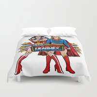 league Duvet Covers featuring InJustice League of Litchfield  by Vague