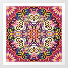 Sugar Skull Mandala - Day of the Dead Mandala Art by Thaneeya McArdle Art Print