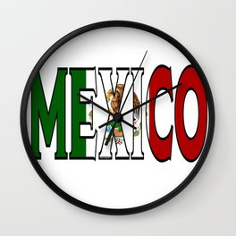 Mexico Font with Mexican Flag Wall Clock