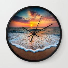 Sunrise at Sea Wall Clock