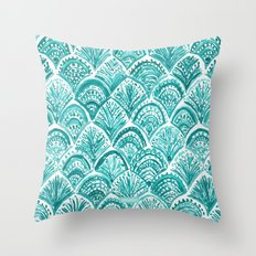 AQUA LIKE A MERMAID Fish Scales Throw Pillow