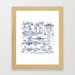 F-18 Blueprints // Blue Ink Framed Art Print