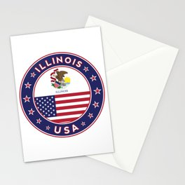 Illinois, Illinois t-shirt, Illinois sticker, circle, Illinois flag, white bg Stationery Cards