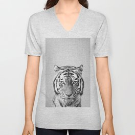 Tiger - Black & White Unisex V-Neck