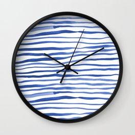 Irregular watercolor lines - blue Wall Clock