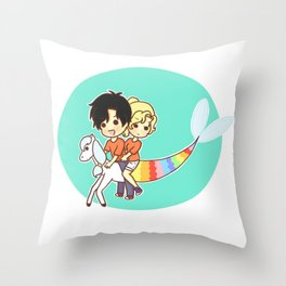 rainbow percabeth Throw Pillow