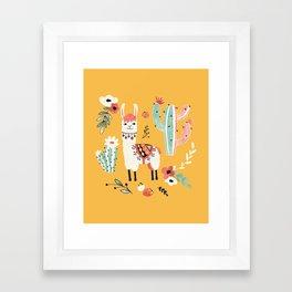 White Llama with flowers Framed Art Print