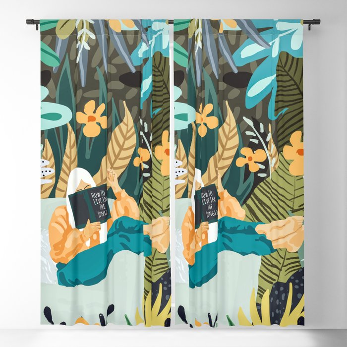 How To Live In The Jungle #illustration #painting Blackout Curtain