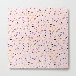 Peach Terrazzo - Coral Speckles - Marble Granite Pattern Metal Print