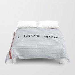 I Love You Hand Written Duvet Cover