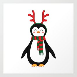 Penguin with scarf and reindeer antler head band. Art Print