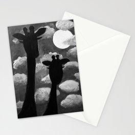 Giraffes at Nightfall - Black & White Version Stationery Cards