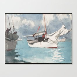 Fishing Boats Key West Watercolor Painting Canvas Print