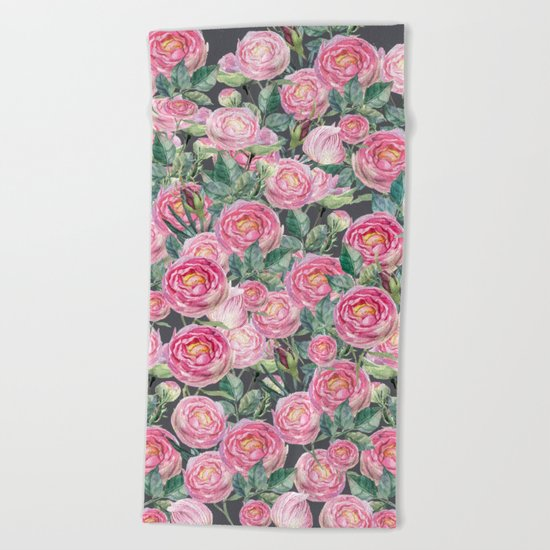 Vintage Roses Grey Beach Towel